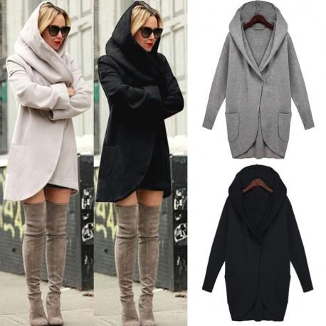e8b62debf2 1x Téli Új Női Alkalmi Hosszú Gyapjú Meleg kapucnis kabát Dzseki