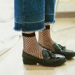 Női szexi hálós csipke necc röcske rövid boka zokni harisnya fekete divat