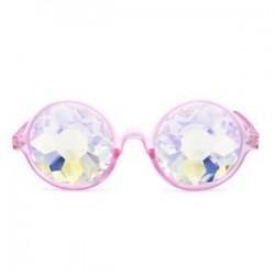 Rave Kaleidoszkóp kerek szivárvány szemüveg diffrakciós kristály lencse Sunglasse