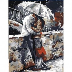 ac9ed42f5f 1x szerelmespár esőben festett vászon olajfestmény Art Decor 40X50CM