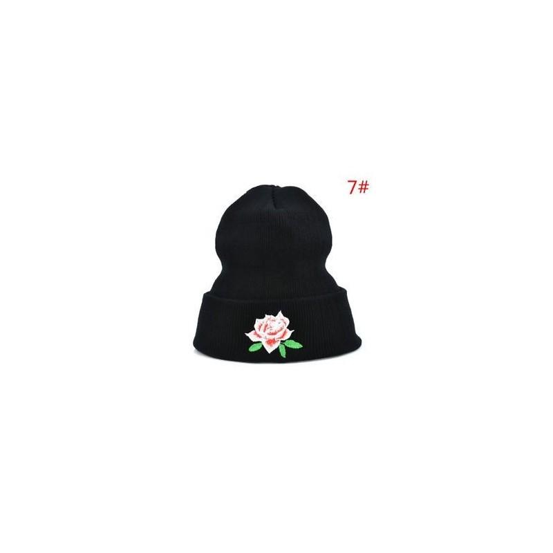c2da651162 Férfi női téli meleg sapka sapka rózsa virág hímzett szerelmesek rugalmas  sapka