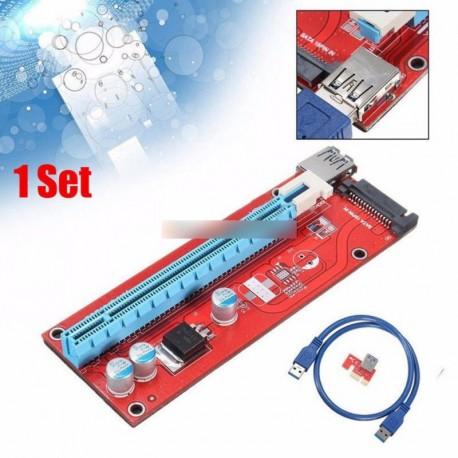 USB 3.0 Pcie PCI-E expressz 1 x 16 x Extender Riser kártya Adapter hálózati kábel piros
