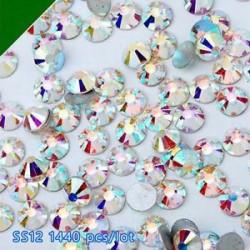 SS12ABďĽ3mmďĽ ‰ 1440PCS. 1440pcs lapos hátsó körömlakk csillogó gyémánt drágakövek 3D tippek díszítés