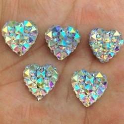 100PCS szív 10mm. 1440pcs lapos hátsó körömlakk csillogó gyémánt drágakövek 3D tippek díszítés