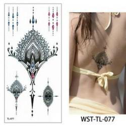 * 77. Szexi test mellkasi művészet 3D virág ideiglenes matricák vízálló kar tetoválás matricák