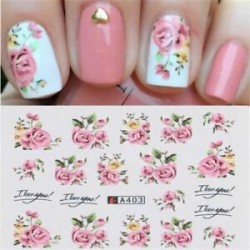A21-2 lapok. DIY Flower Letter Nail Art víz matricák Transfer matricák Manikűr tippek Decor