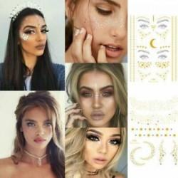 Vízálló arany arc ideiglenes tetoválás blokkolt szeplők smink szem matricák matrica