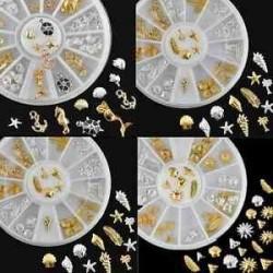 Óceán horgony Starfish toll turtle arany ezüst fém köröm művészet DIY díszek