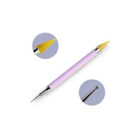 Lila. Dotting Pen Nail Art Rhinestone Picker Wax kettős végű ceruza kristály gyöngy fogantyú