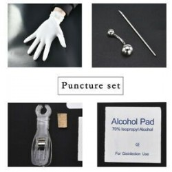 * 5 Navel Ring Kit. Pro Eldobható Piercing Kit steril tű fül orr mellbimbó nyelv test gyűrű eszköz