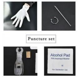 * 4 Septum Piercing Kit. Eldobható piercingkészlet Ezüst steril tűcsomó nyelvű testgyűrű szerszámkészlet