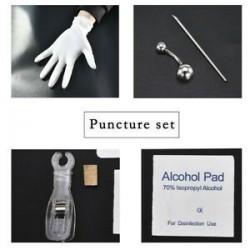 * 5 Navel Ring Kit. Eldobható piercingkészlet Ezüst steril tűcsomó nyelvű testgyűrű szerszámkészlet