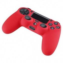 Piros - Szilikonfedő bőr tok Protector tartozékok PS4 Playstation 4 vezérlőkhöz