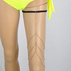 Arany - Arany Divat szexi test láncok női 3 szint lábak comb lánc Beach kábelköteg ékszerek