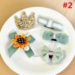 * 2 5Pcs / Set - * 2 5Pcs / Set 1 készlet gyerekek baba lány haj klipek készlet Bowknot virág szív korona fejfedők