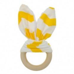 Sárga fehér - Sárga fehér Baba fogzási gyűrű kézzel készített természetes fából készült chewie teether nyuszi