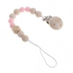 Rózsaszín - Rózsaszín Fából készült baba cumi csipesz klip lánc simító cumi klipek póráz hevederes mellbimbó