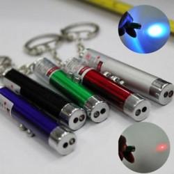 2 in 1 piros lézeres mutató toll   fehér LED-es könnyű gyermek kisállat macska játék kulcstartó