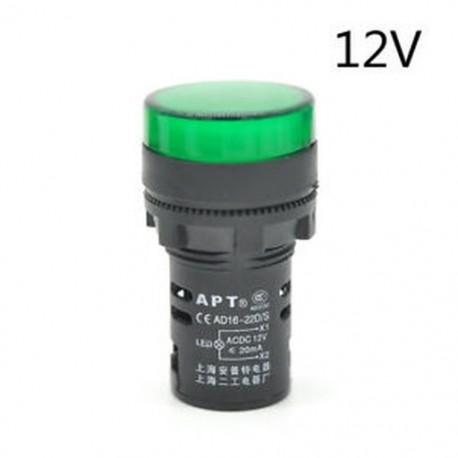 Green-12V 22 mm-es LED-es jelzőfény Pilótafény jelzőlámpa panel Piros zöld Kék Sárga fehér