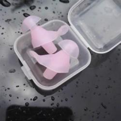 * 1 Pink Puha szilikon újrafelhasználható komfort elleni zajhabos fül füldugó az úszás alvó munkadobozhoz