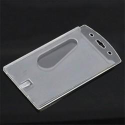 Új, tiszta, függőleges, kemény műanyag többlapos azonosító jelvénytulajdonos átlátszó 10x6cm Új, tiszta,