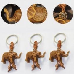 Szerencsés elefánt faragás fa medál kulcstartó kulcstartó lánc gonosz megvéd új