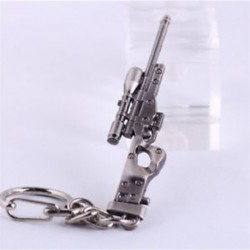 Fém Mini katonai AWM mesterlövész fegyver fegyver modell medál kulcstartó kulcstartó ajándék