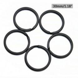 2,0 * 30mm 5db fekete fém szilárd osztott kulcs gyűrű ötvözet hurok lapos kulcstartó 25-32mm