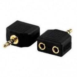 3.5mm 1 - 2 fülhallgató fülhallgató Y Splitter kábel kábel adapter Jack dugó fekete