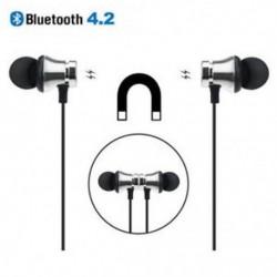 Ezüst Bluetooth 4.2 sztereó fülhallgató fülhallgató vezeték nélküli fülhallgató mágneses fejhallgató
