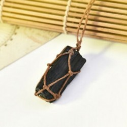 * 4 Természetes fekete turmalin Retro nyers drágakő medál Crystal kézzel szőtt Jet Stone