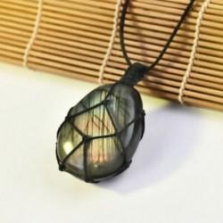 * 3 Természetes fekete turmalin kristály medál drágakő gyógyító kő fonott kötél JP