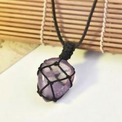 * 5 Természetes fekete turmalin kristály medál drágakő gyógyító kő fonott kötél JP