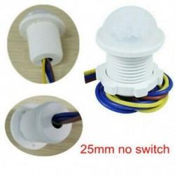 25mm nincs kapcsoló 5W ~ 200W 50 ~ 60Hz PIR infravörös test mozgásérzékelő vezérlő kapcsoló fehér fénylámpa