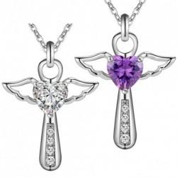 1x Jézus ezüst színű kereszt angyal szárny szerelem szív kristály jellegű medál nyaklánc ékszer