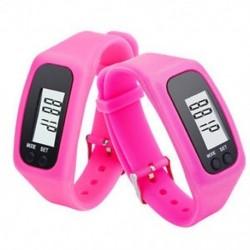 Rózsaszín Digitális LCD pedométer csukló karkötő lépés séta futás kalória számláló
