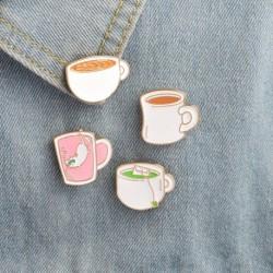 1x Kreatív Rajzfilm fém Kávé Tea csésze kitűző ruha kiegészítő