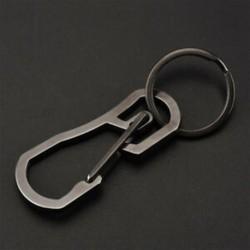 Fekete Hordozható kültéri rozsdamentes acél csat karabiner kulcstartó kulcstartó Clip Hook JP