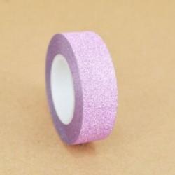 15mm x 10m-es Rózsaszín csillámos Washi dekor szalag - dekoratív öntapadós szalag