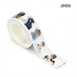 1 tekercs JIMIN (20mmx10m) Washi szalagos papír maszkoló szalag Scrapbook dekoratív DIY ragasztó matrica dekoráció