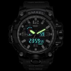 1x SMAEL férfi multifunkciós digitális vízálló dátumkijelzős sötétben világító Katonai kvarc karóra