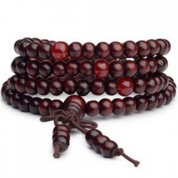 * 1 Kék 108 6mm gyöngyök természetes szantálfa buddhista buddha fa ima Mala karkötő Új