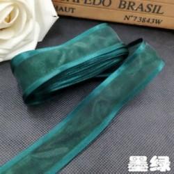 Zöld DIY 5yds 1 &quot (25mm) Satin Edge Organza szalag íj esküvői dekoráció csipke kézműves
