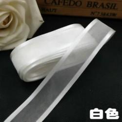fehér DIY 5yds 1 &quot (25mm) Satin Edge Organza szalag íj esküvői dekoráció csipke kézműves