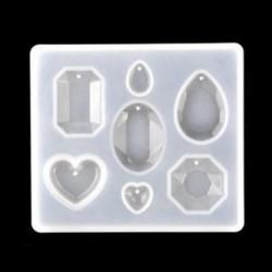 Vegyes öntőforma 7 mintával - Drágakő - Szív - Szilikon öntőforma ékszerek - medálok készítéséhez