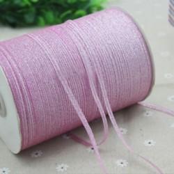 Rózsaszín 20 yard (4mm) 1 / 8`` Fémes csillogás csillogó szalagok Karácsonyi csomagolás ajándék