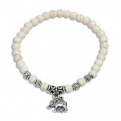 Fehér türkiz gyöngy elefánt Divat férfi természetes kő gyöngyös karkötő fej Buddha varázsa gyöngy Bangle ékszerek