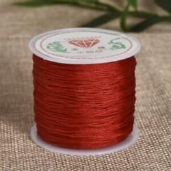 Piros Nylon Cord Thread 0.8mm kínai csomó Macrame Rattail karkötő fonott string 45M