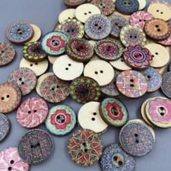 50db / tétel 2 lyuk vegyes virág fa gomb varrás Scrapbooking DIY kézműves ajándék
