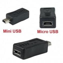 Fekete mikro USB női mini USB férfi adapter töltő átalakító adapter